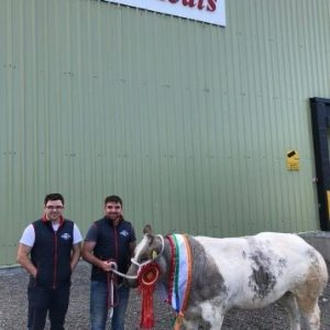 James & Brian Troy with a champion heifer outside their meat plant